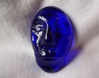 Glass Head Magnet Blue hand blown art glass refrigerator magnet dorm office decor rare earth