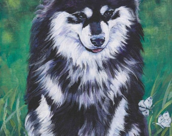 FINNISH LAPPHUND dog portrait art canvas PRINT of LAShepard painting 8x10""