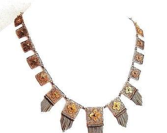 Cannetille Silver Fringe Necklace