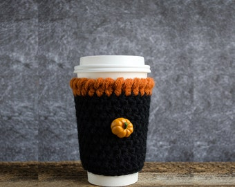 Crochet Coffee Cozy, Crochet Coffee Sleeve, Crochet Cup Cozy, Coffee Mug Cozy, Coffee Cup Cozy, Coffee Cup Sleeve, Cup Warmer, Pumpkin Decor