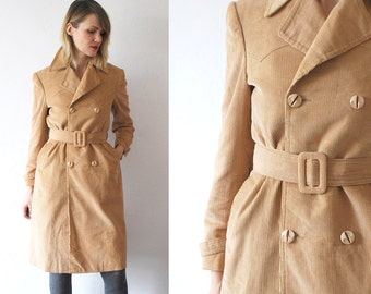 70s trench coat. tan corduroy coat. belted double breasted coat - xs, small