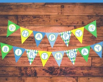 "INSTANT DOWNLOAD: Tennis Themed Boy Birthday Banner - ""Happy Birthday"""