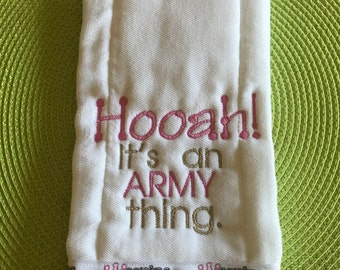 Hooah Soldiers Princess Burp Cloth