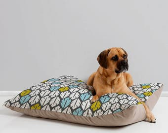 Modern Dog Bed // Pet Bedding // Animal Pillow // Pet Cushion // Foliar Design // Dog Bed // Dog Pillow // Tropical Leaves // Blue // Pets