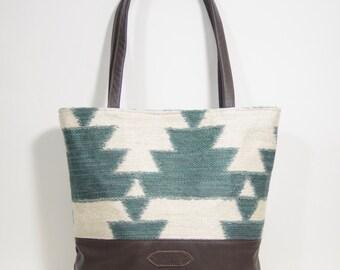 Nana handmade green geometric Pam tote