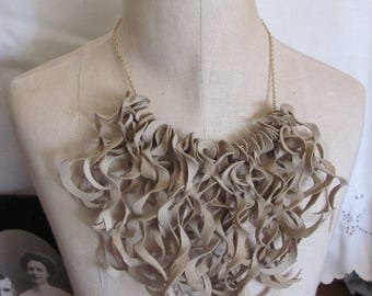 Beautiful Beige Soft Suede Leather Curly Fringe Necklace Choker (#14) Many to choose from!!