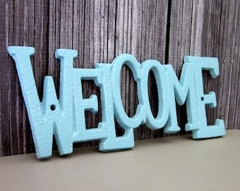 Welcome Sign, Plaque, Cast Iron, Light Blue, Painted, Door Sign, House Sign, Metal Welcome Sign, Indoor, Outdoor, Cast Iron Wall Decor