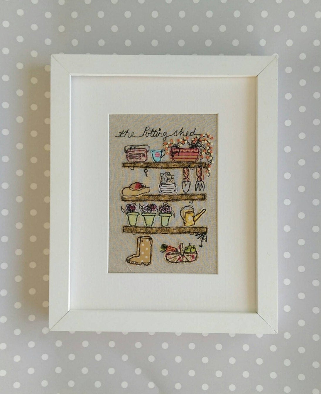 Handmade Potting Shed Embroidered Picture Ideal Gift For