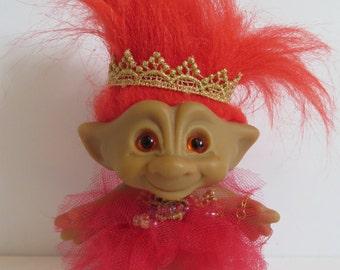 OOAK RETRO Vintage Treasure Troll Original Red Eyes & Hair Tutu
