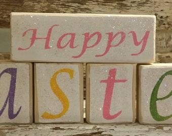 Happy Easter Pastel Color Blocks Glitter Blocks Holiday Blocks