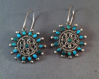 Vintage Silver Turquoise Star Dangle Wire Earrings, Middle Eastern Dangle Earrings, Silver turquoise, Fine Silver Jewelry,  **USA ONLY**