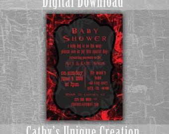 Resident Evil Baby Shower Invitation, Zombie Baby Shower, Red, Black, Printable Letter, Geekery, Fantasy, Vampire, DIY, Digital Template