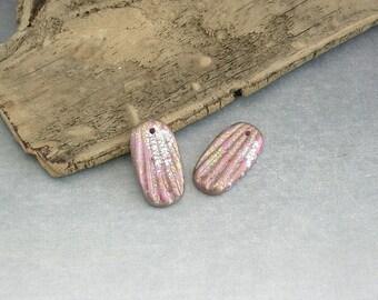 Artisan Handmade Earring Component Pair - Metallic Pink Artisan Polymer Clay Art Beads / Charms by Emma Ralph SRA OOAK UK Jewellery Supplies