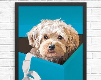 Funny dog art print. Illustrated dog artwork. Wall art for nursery, adults, & children. Nursery wall art decor. Funny poster. Yorkipoo art.