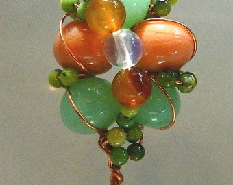 Shawl or Hair Pin Copper with Handmade Lampwork and Natural Beads, SP4