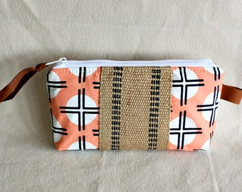 Pouch clutch zipper purse makeup bag wallet coral white with jute webbing trim- READY