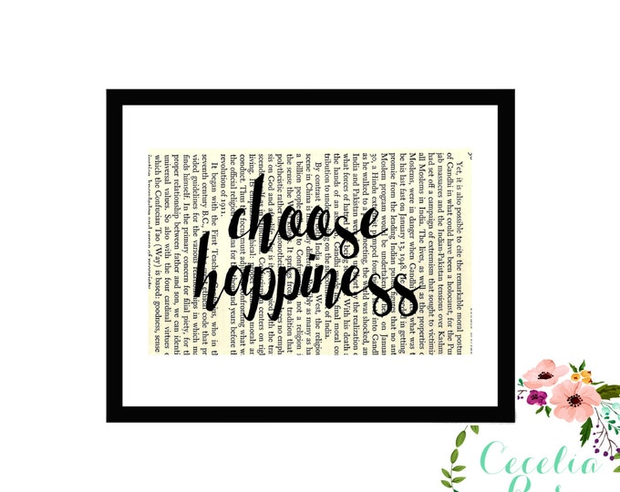 Choose Happiness Inspirational Upcycled Vintage Book Page Art Box Frame or Print