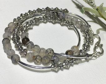 Bracelet-Triple Wrap Beaded Bracelet-Black Dragons Vein Agate Gemstone Bracelet-Crackle Glass-Clear-Silver-Boho Cuff Wrap-Bohemian Chic-Her