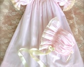 Lavender Hand Smocked Sweetheart Gown with Matching Bonnet
