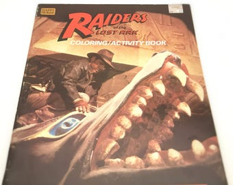 Vintage Coloring Book, Indiana Jones Raiders of the Lost Ark - 1980s Kids Coloring, Activity Book, Harrison Ford, Steven Spielberg