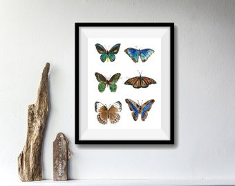 Butterflies art print, watercolor print, six butterflies print, nature art, wall art, butterflies art, nature art, butterflies, artwork