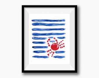 Born in July art Print, crab and Stripes print, zodiac sign cancer, June July birthday, Nautical art, coastal art, nursery decor, Blue, red