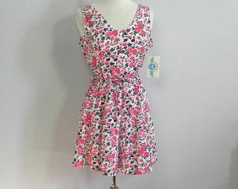Vintage 80s Dead Stock Rose Print Play Suit / Red Rose Mini Dress Skorts Romper NWT Med Lg