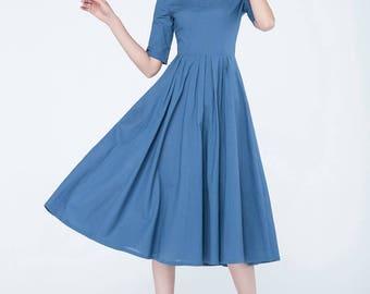 blue dress, linen dress, classic dress, casual dress, womens dresses, pleated dress, fit and flare dress, party dress, summer dress 1749