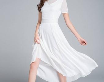 white dress, chiffon dress, wedding dress, bridesmaid dress, prom dress, summer dress, prom dress, fitted dress, romantic dress 1770