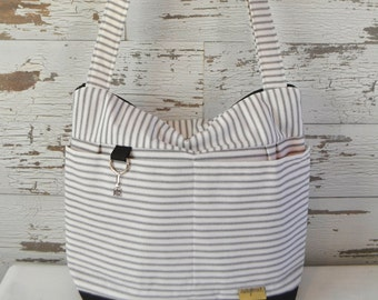 Digital Camera bag in Black & white Ticking Stripe, waterproof base -Lightweight and durable! by Darby Mack made in the USA