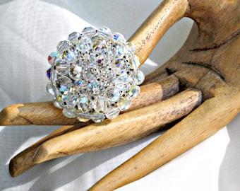 AB Rhinestone Crystal Brooch Pin Vintage 60s Costume Jewelry