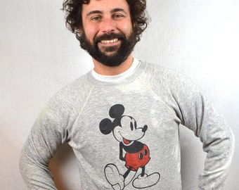 Vintage 80s Super Distressed Mickey Mouse Gray Sweatshirt