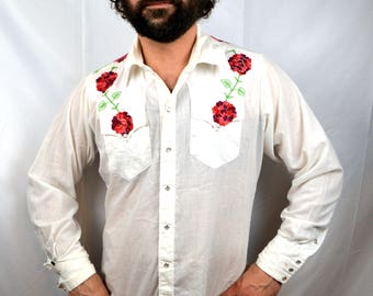 Vintage Embroidered Rockmount Ranchwear Tru-West Western Shirt - Pearl Snap