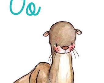 Children Art Print. O is for Otter. 8X10 PRINT. Nursery Art Home Decor
