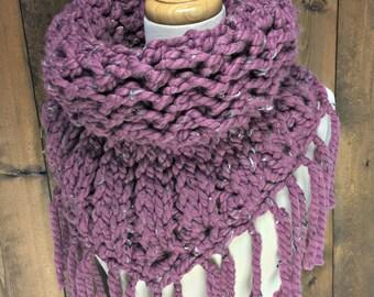 Crochet Triangle Tube Scarf with Fringe - MOONWAKE - Tulip