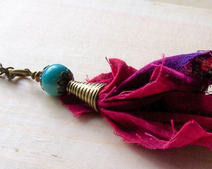 Long boho tassel necklace, long beaded necklace, bohemian necklace, long layering necklace, gypsy necklace, long red necklace, red necklace