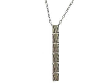Mayan Totem Pole Long Sterling Silver Necklace