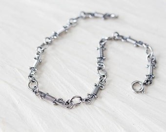 Handcrafted Sterling Silver Bracelet Chain for woman, Unique wire wrapped links, Layering Silver Chain Bracelet, Artisan jewelry