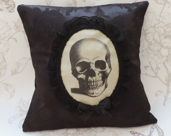 Gothic steampunk skull victorian cameo pillow cushion black floral damask macabre halloween home decor