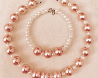 American Girl Sized Choker Necklace and Bracelet with Faux Pink and White Pearls