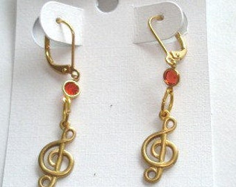 Music Ruby Red Crystal  Stone  Earrings Gold Tone Filigree