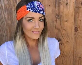 New York Mets Vintage Pinup Turban Headband    Hair Band Baseball Accessory Cotton Workout Yoga Fashion Royal Blue White Orange Head Scarf