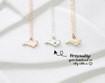 Tiny Rose Gold Necklace with North Carolina Pendant, North Carolina Charm Bracelet, Delicate Necklace, Dainty, Rose Gold State Necklace