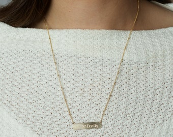 Custom Hand Stamped Name Necklace, Stamped Layering Necklace Rose Gold Monogram Custom Jewelry, Silver Nameplate Necklace, Gold Bar Necklace