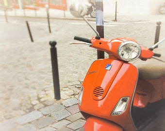 Paris Photography, Photograph of a Tomato Red Vespa in Montmartre, Scooter Wall Art, Travel Photograph, Landscape Decor, Parisian Home