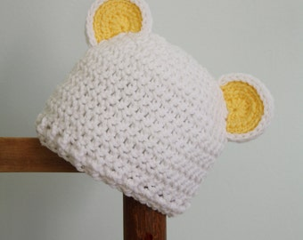 Polar Bear Hat, Crochet Beanie, Animal Hat, Men, Women, Boys, Girls, Baby, Gift, Holiday, Christmas, Halloween, Costume, Baby Shower, Winter