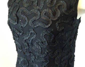 Deep Black Vintage 50s Bad Girl Blouse Soutache and Black Rhinestones  36-38 bust