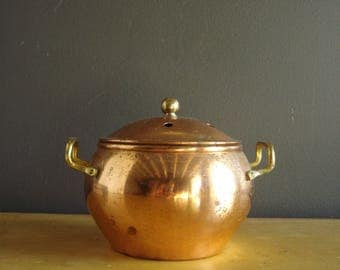 Flowers Wanted - Vintage Copper Bowl or Vase - Copper and Brass Planter or Bowl with Handles and Lid