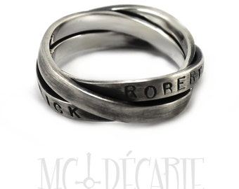 Trinity ring, 3 x 3mm ring band combined together. Cartier ring, fixed together, can be personalized with names, dates, coordinates, custom