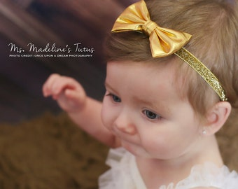 Glitter Bow, Metallic Gold Faux Leather Bow Hair Accessory for Toddler Girl, Headbands for Babies, One Year Old Girl Birthday Outfit